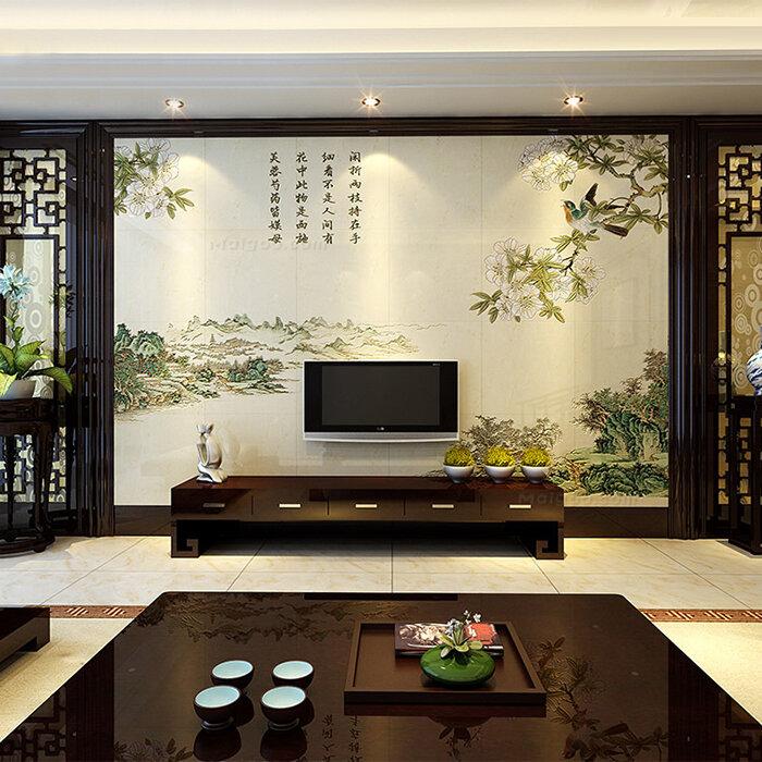 微晶石电视背景墙客厅微晶石瓷砖背景墙影视墙装修图片1/22-客厅微晶
