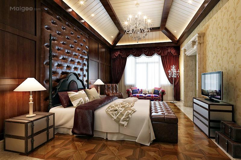 美式风格卧室吊灯软包背景墙卧室窗帘影视墙装修效果图(3/9)图片