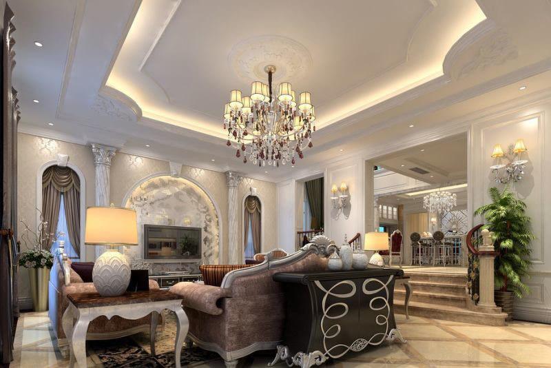 欧式客厅吊顶装修效果图 欧式客厅装修效果图