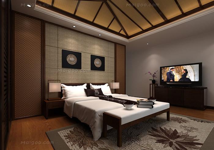 卧室东南亚风情吊顶造型效果图(4/8)图片