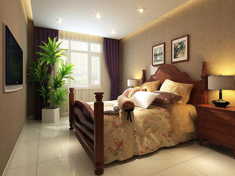 中式风格两室一厅卧室装修效果图(2/3)