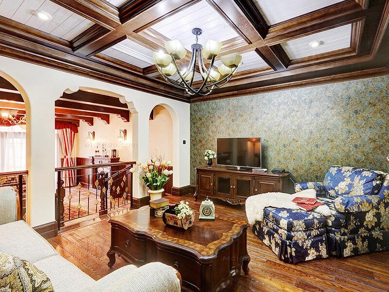 美式乡村风格三室两厅复式楼装修效果图图片