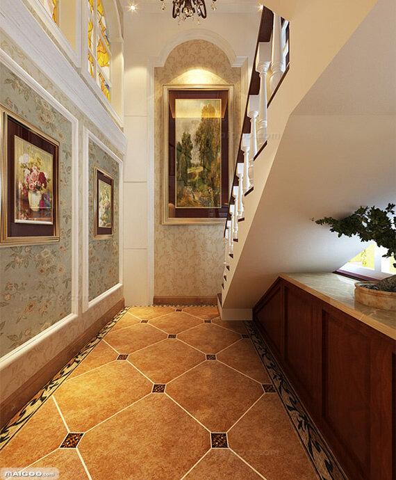 美式装修风格过道效果图:美式风格的装饰画,拼花瓷砖,精致的墙纸.图片