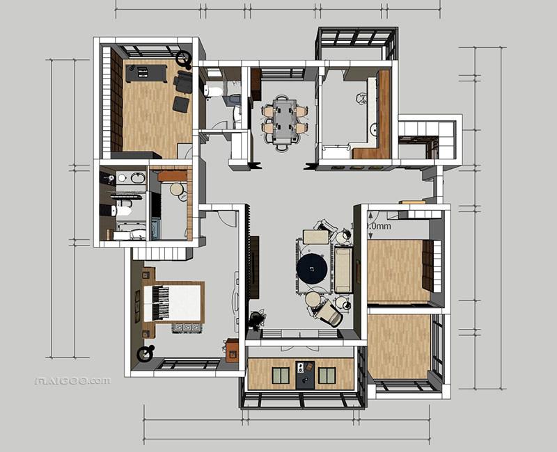 160平米户型图 160平米房屋设计图图片