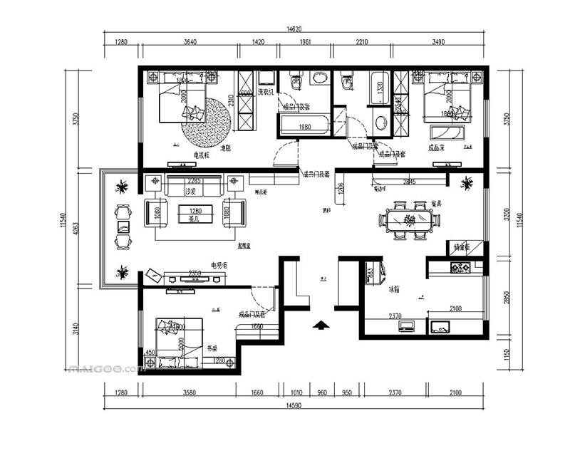 180平米户型图 180平米房屋设计图图片