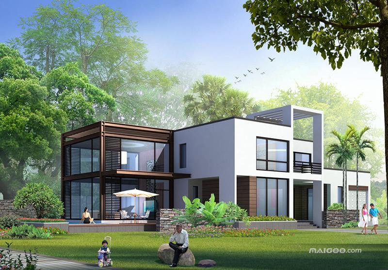 【别墅效果图】现代别墅设计图 现代风格别墅效果图图片