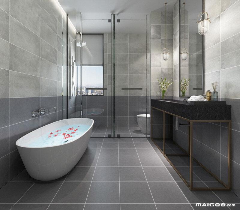 浅灰色卫生间装修效果图 淡灰色卫生间效果图大全