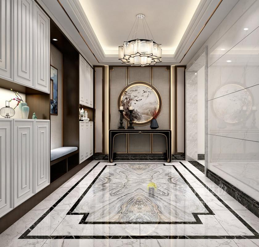 新中式风格_【名雕装饰】中海文华熙岸400㎡复式136万现代中式风格设计欣赏