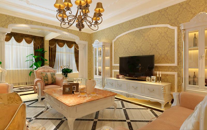 欧式复式楼装修样板房客厅电视背景墙装修效果图(2/7)图片