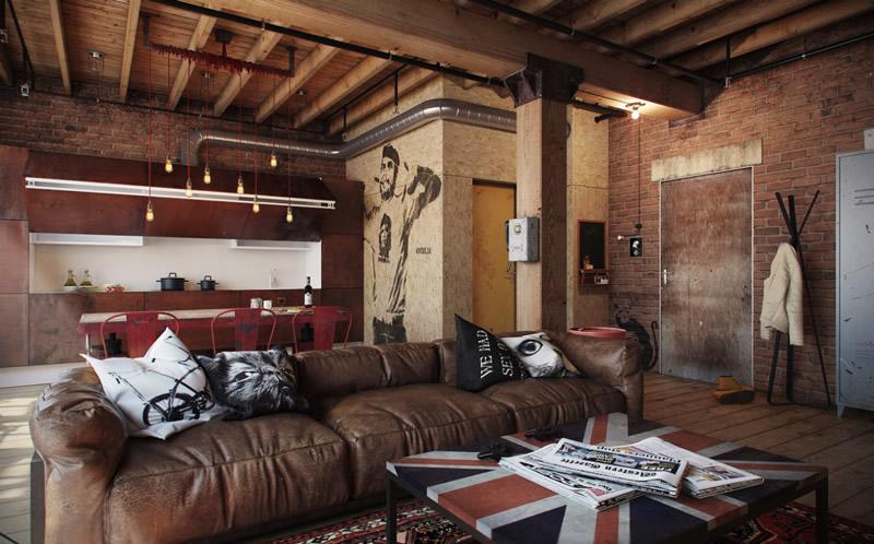 loft工业风格客厅沙发装修效果图欣赏(5/10)图片
